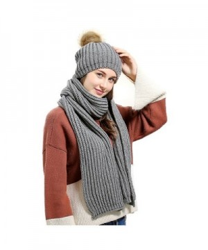 Jelinda Women's Autumn Winter Warm Knitted Hat and Scarf Set - Style 2 - Grey - CD186O5TO6A