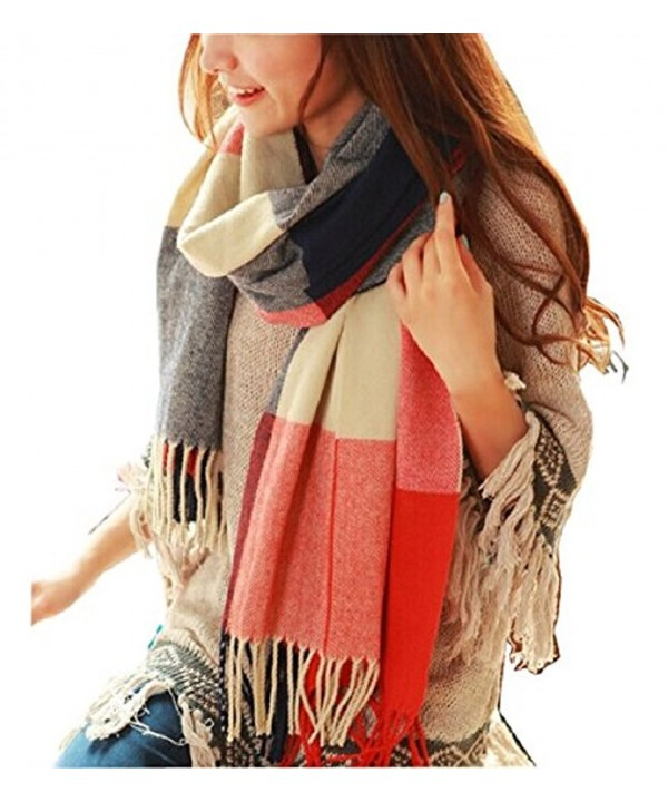 Wander Agio Women's Fashion Long Shawl Big Grid Winter Warm Lattice Large Scarf - Orange Red - C7127ZB8OUV