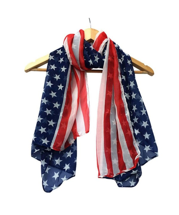 TAORE Women Fashion Soft Silk Chiffon American Flag Scarf - Dark Blue - C412N13WXAH