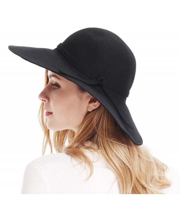 Bienvenu Women's Wide Brim Wool Ribbon Band Floppy Hat - Black - C911N7Q029P