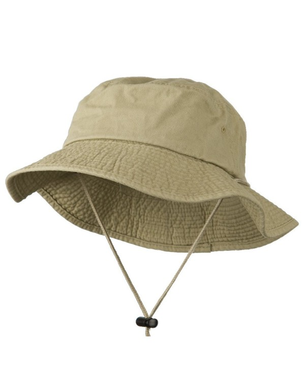 Big Size Washed Bucket Hat with Chin Cord - Khaki (For Big Head) - CP11HPANZTH