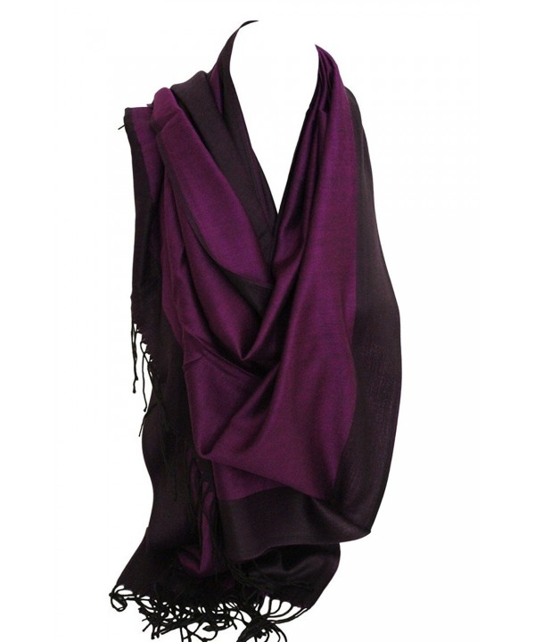 Two Sided Reversible Plain Pashmina Feel Wrap Scarf Shawl Stole Head Scarves - Purple & Black - CG12O0354GB