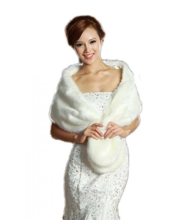 LuYan Women's Wedding Bridal Faux Fur Round Tail Fluffy Wrap - Ivory - C011EPALE3T