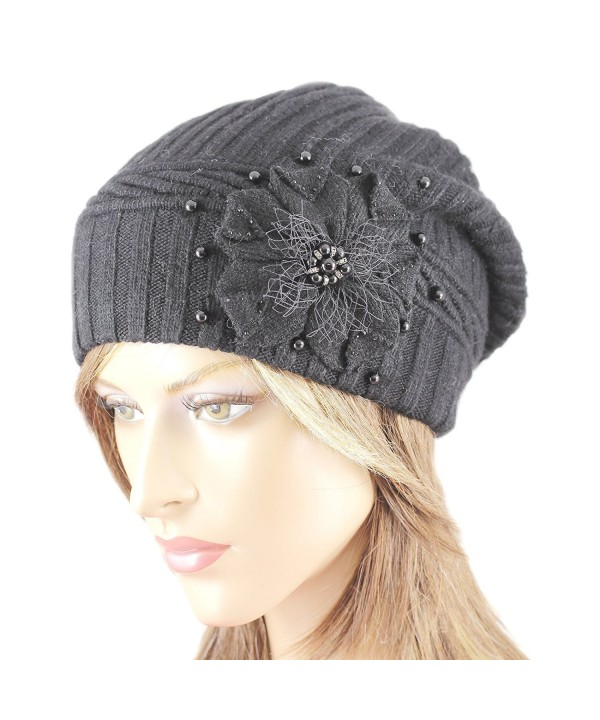 LA-EL COUTURE Womens Wool&Angora With Pearls and Rhinestones Flower Warm Beanie - Black - CK12BXKPK75
