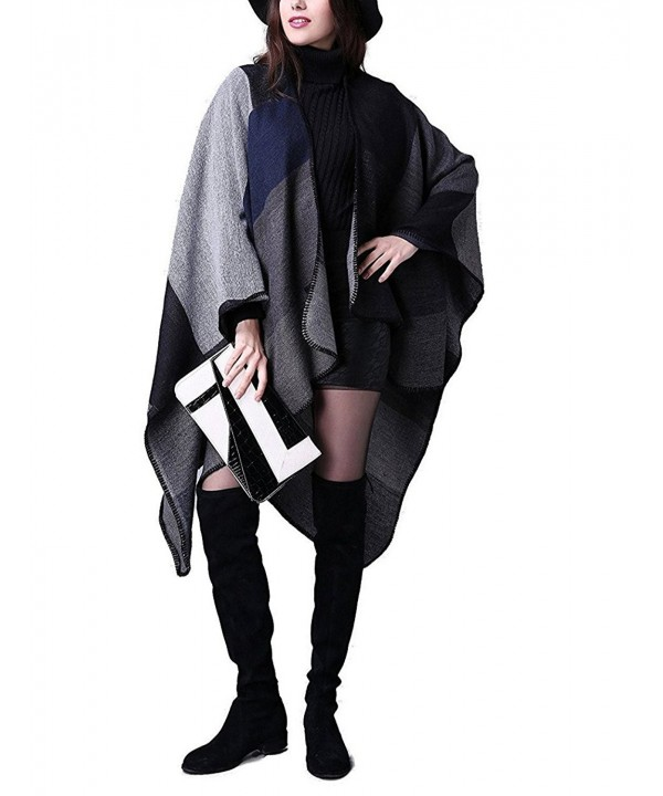 HiJudy Women's Fall Winter Knitted Poncho Capes Shawl Wraps For Women Reversible Warm Blanket Cardigan - Black - CV188SZXWR7