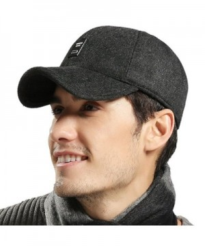 CS&BEAUTY Men's Wool Warm Soft Lined Cap Adjustable Baseball Winter Hats - Black - CI12O2MPPBV
