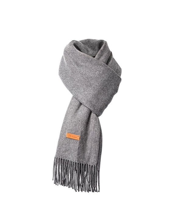 Cashmere Scarf For Womens-Mens Super Soft Fashion Long Tassel Grey Scarf(80.7X25.6 In) - C0187R0D0Q3