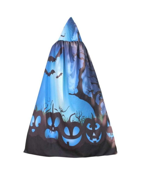 KaiCran Women Novelty Pumpkin Print Cape Scarf Halloween Poncho Shawl Wrap Costume - Blue - CA186H0R7HI
