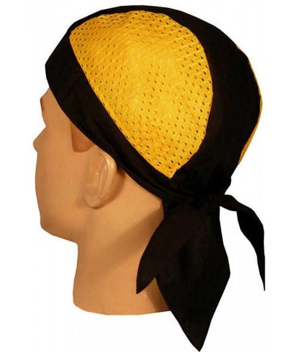 Skull Cap Biker Caps Headwraps Doo Rags - Yellow/Black Air Flow - CW12ELHP10N