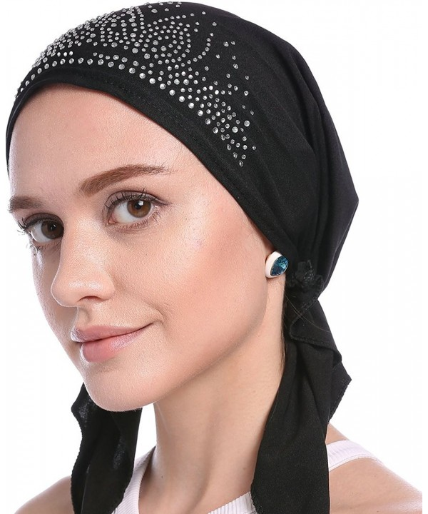 Ababalaya Women Elastic Drill Muslim Headwrap Chemo Cap Cap Turban Hat In 9 Colors - Black - C117X0QGGY4