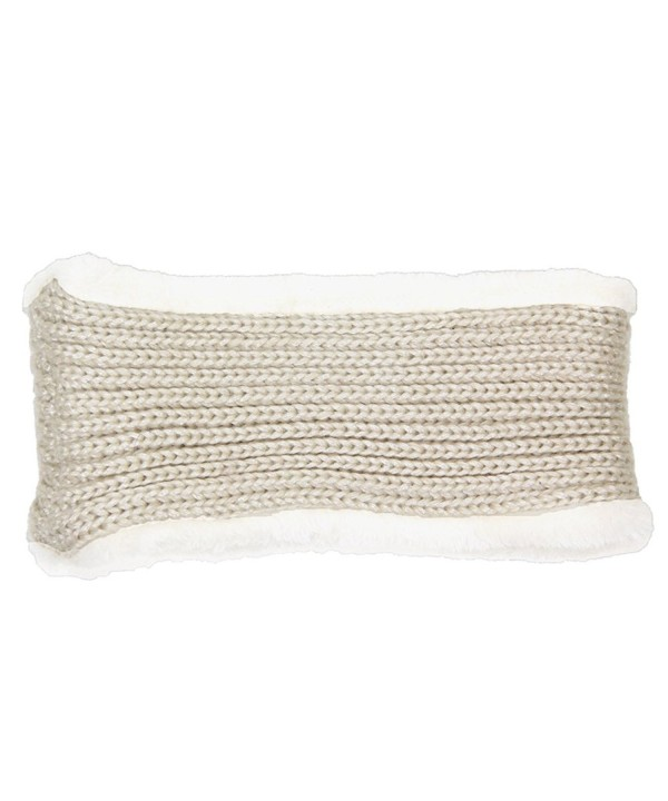 Me Plus Women's Winter Fleece Lined Thick Knit Headband Ear Warmer - Beige - CW1884DCX4G