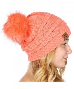 C.C Serenita Solid Ribbed Hat With Matching Faux Fur Pom-Pom Knit Beanie Hat - Coral - CT186GA4N27