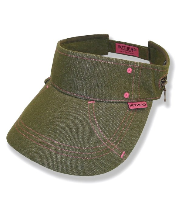 Hothead Large Brim Sun Visor Hat - Denim in Olive - CL11D0VXOWJ