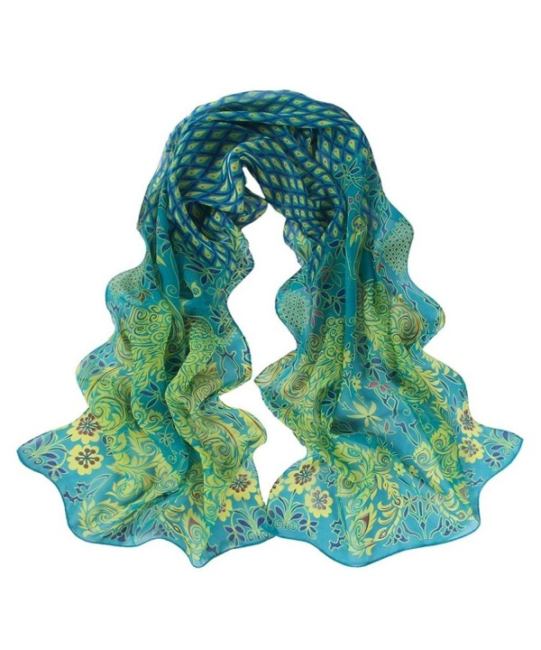 LEERYA Women Peacock Pattern Soft Silk Chiffon Shawl Wrap Wraps Scarf Scarves - Green - CT12LVNO9UN