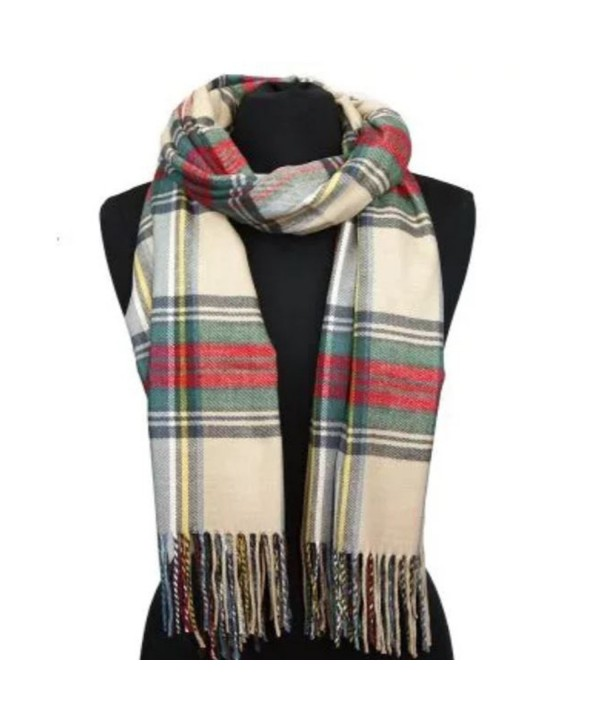 Apparelism Women's Winter Scottish Clan Plaid Oversized Cashmere Feel Blanket Scarf Wrap Shawl. - Plaid Beige - CA18978WK36