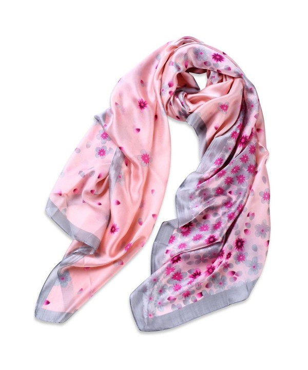 Women Shawl 100% Silk Scarf Lightweight Sunscreen Beach Scarf Premium Gift Wrap - Pink - C2185QSTSUA