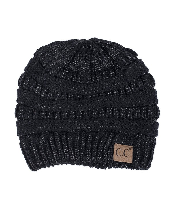 Metallic Black Cable Cutie Polyester Women's One Size Fits Most Knit Beanie Style Hat - CB186A52XDG