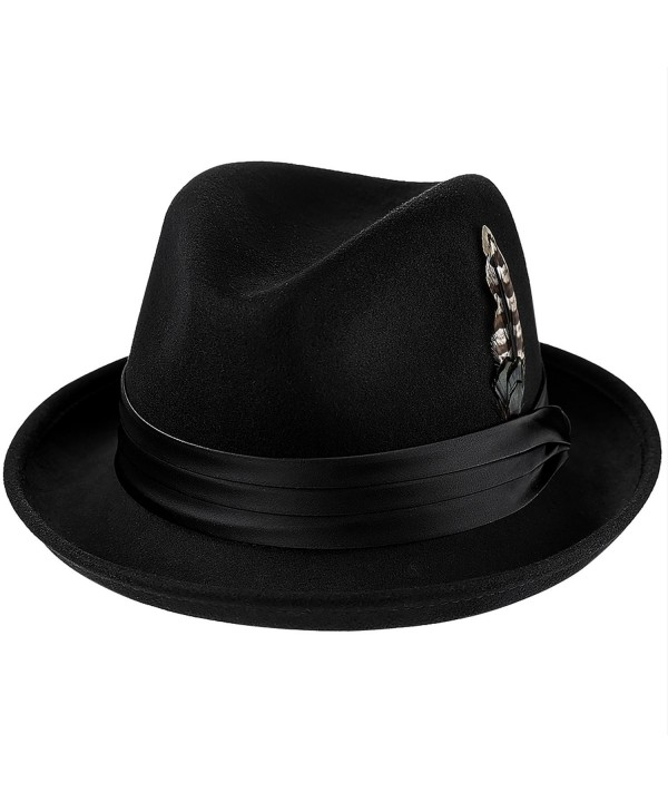 Deevoov Men Fedora Hats with Feather Australia Wool Trilby Hat - 131black - C5187A9A2MM