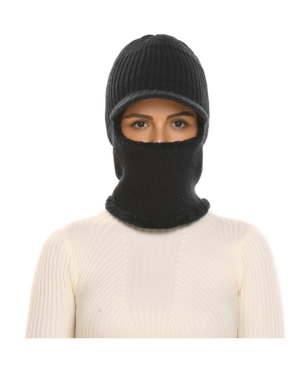 Zeagoo Unisex Neck Warmer Ski Face Mask Winter Hat Visor Balaclava Beanie - Black - C1186I0DKOQ