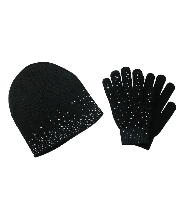 CTM Women's Rhinestone Hat and Glove Set - Black - CN12NZPGFU6