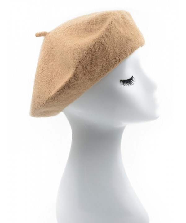 Melesh - Womens Classic Solid Color Knitted Wool French Beret - Camel - CS187N4NYH8