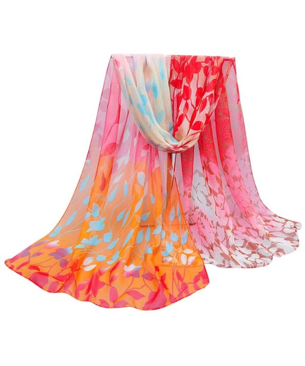 Sunward Fashion Women Lady Flower Printe Chiffon Shawl Wrap Scarf Stole Pashmina - flower-Orange - CB12BIWU9M9
