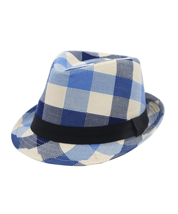 Premium Multi Color Plaid Stitch Black Band Fedora Hat - Different Colors - Blue - C9125VM32XF