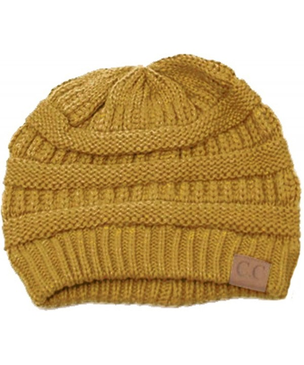 Slouchy Cable Knit Beanie Skully Hat - Mustard - CK11RX91AG5