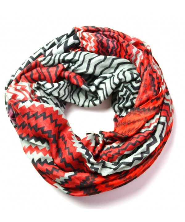 Anytime Scarf Red Women's Chevron Infinity Loop Circle Scarf Snood - CZ11GCU506D