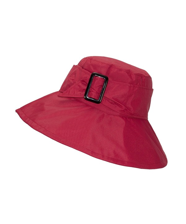 FLH Cute Bucket Rain Hat w/Buckle Accent- 3.5 inch Wide Brim- Roll-Up Packable - Red - C818595L6KS