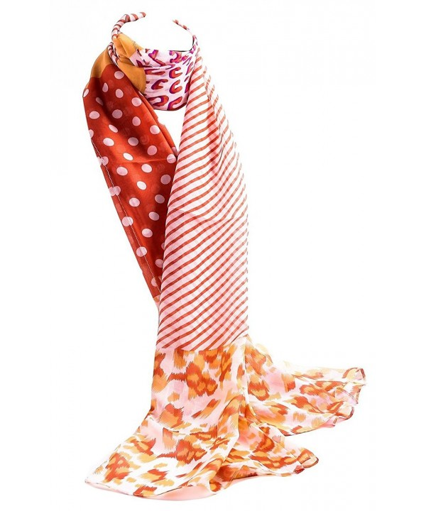Jemis Women' s Mature Long Silk Scarf 150*53CM - Orange - C311QJSLQT3