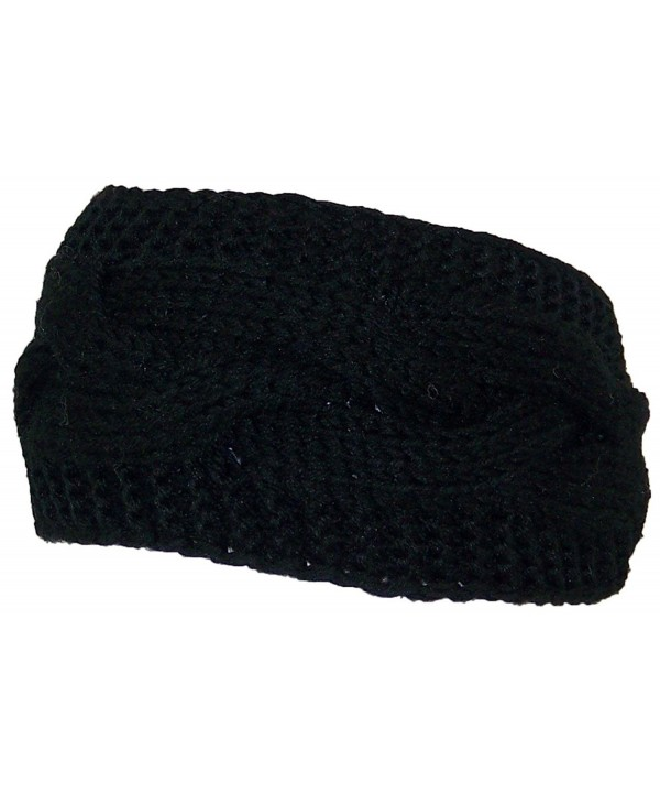 Best Winter Hats Solid Color Cable & Garter Stitch Knit Headband (One Size) - Black - C0125W158PZ