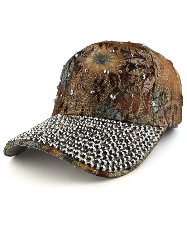 Trendy Apparel Shop Bling Studs Flower Glitter Structured Adjustable Baseball Cap - Tan - C5186RS2L76