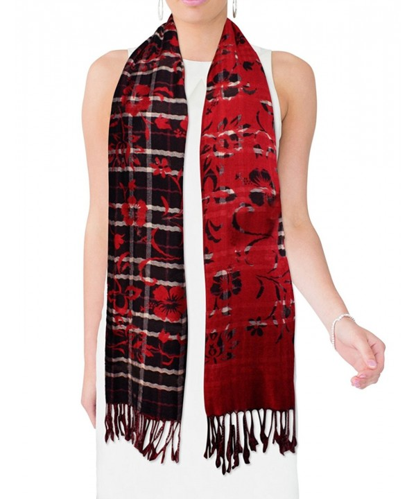 Viscose Cross Stripes Swing Vine Flower Imprint Long Scarf Shawl - Red - C9115VNZ97R