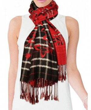 Viscose Cross Stripes Flower Imprint in Cold Weather Scarves & Wraps