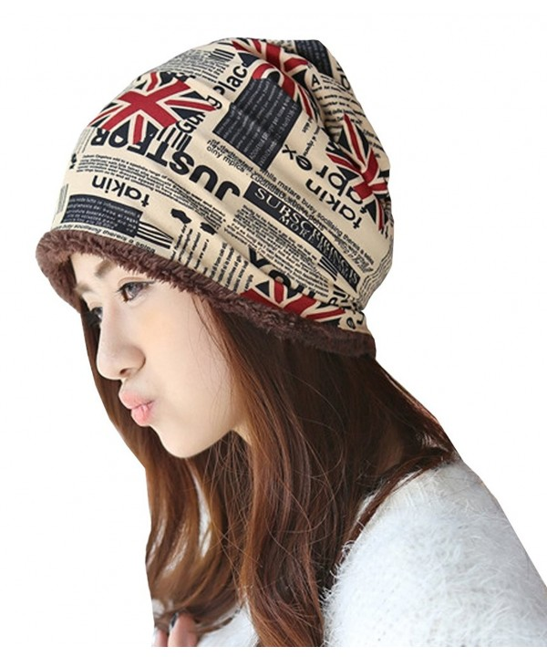 Womens Flower Print Fleece Lined Skull Casual Fit Cap Hat Ski Beanie - Wine Red-thick - C812MLT2ITP