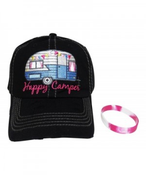 Embroidered Happy Camper Vintage Style Baseball Cap +FREE BRACELET - Black - CP12MZCLAFN