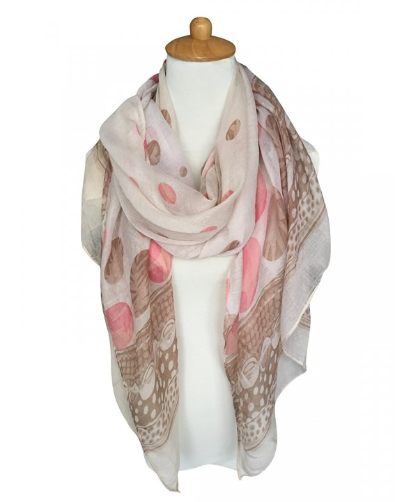 GERINLY Spring Scarves: Two-tone Dots Print Womens Wrap Scarf - Khakipink - C412O5OE32J