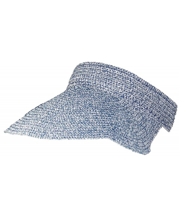 Tropic Hats Tweed Womens Packable Roll-Up Wide Brim Sun Visor (One Size) - Blue - C817YUAEC4W