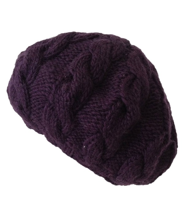 Nirvanna Designs CH208 Cable Beret with Fleece - Prune - C011H7R9DQD