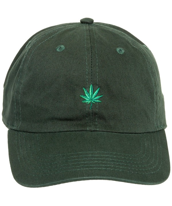 Newhattan Weed Leaf Dad Hat - 100% Cotton Adjustable Sports Cap - Dark Green - C112NUP4203