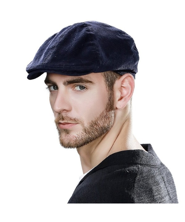 SIGGI Mens newsboy Cap Winter Hat Elastic Adjustable IVY Flat Cap Gatsby Lined - 89094_navy - C3186S94Y9A