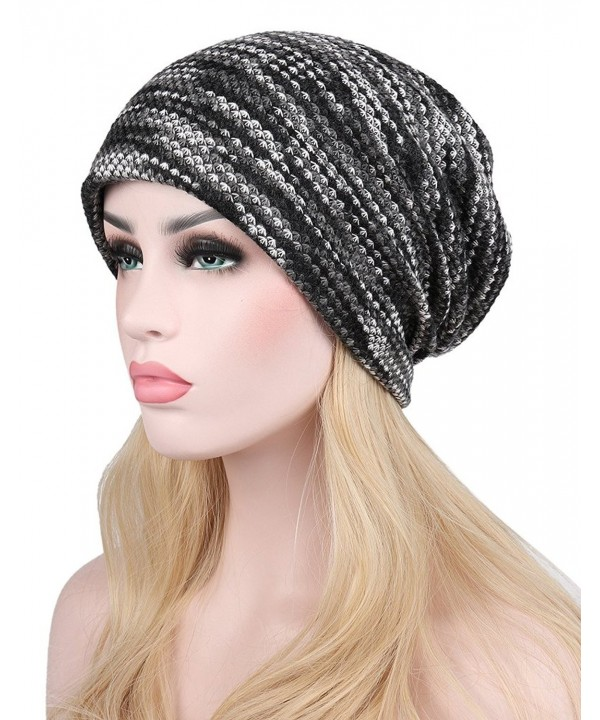 I wish Womens Soft Mercerized Cotton Knit Beanie Sleep Turban Hat Headwear For Cancer 3 Pack - Grey 01 - CX186TZ8OUD