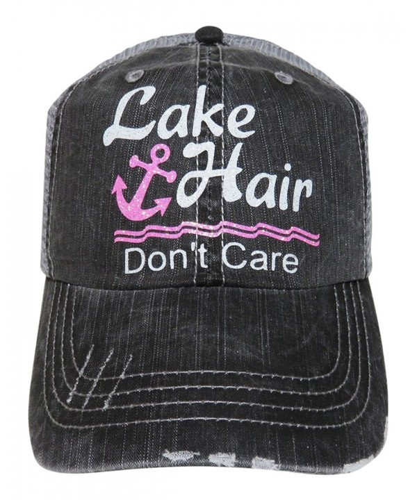 Glitter Lake Hair Don't Care Distressed Look Grey Trucker Cap Hat - White/Pink Glitter - CR12I3I2CN5
