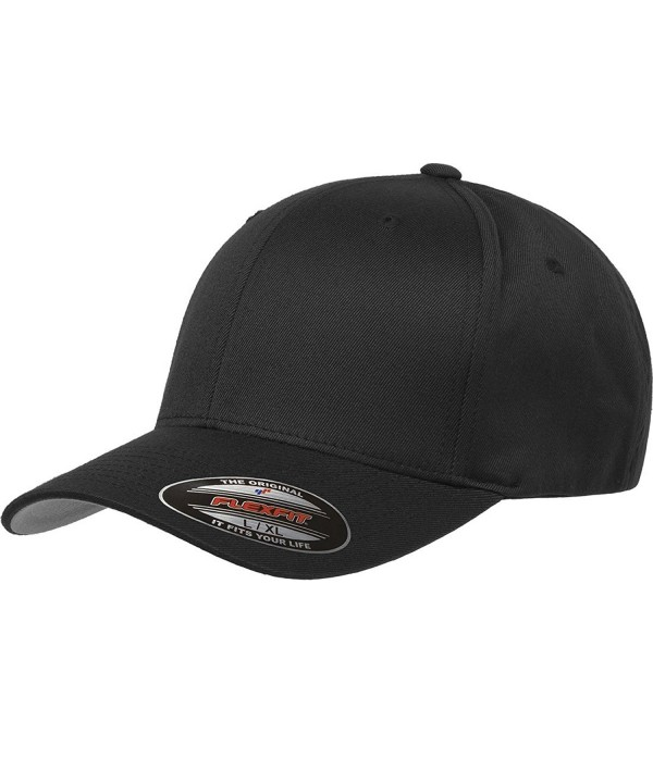 Flexfit Men's Athletic Baseball Fitted Cap - Black - CS182YM6W0X
