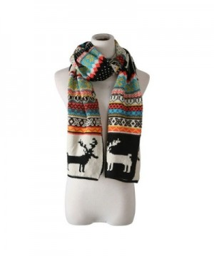 candyanglehome Christmas Knitting Scarf Women Men Winter Warm Thick Wool Reindeer Printed Knit Shawl - Black - CK1889ATS5S