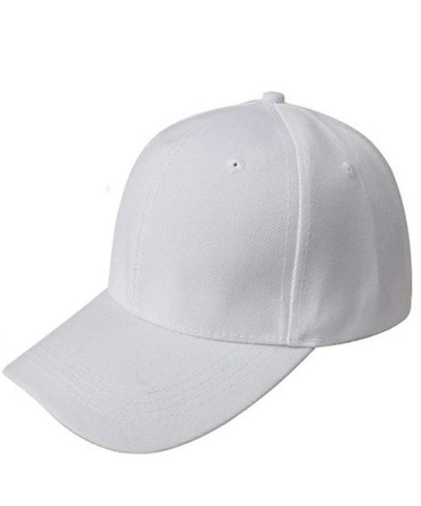 Kemilove Baseball Cap Blank Hat Solid Color Adjustable Hat - White - CF12IFS06S1