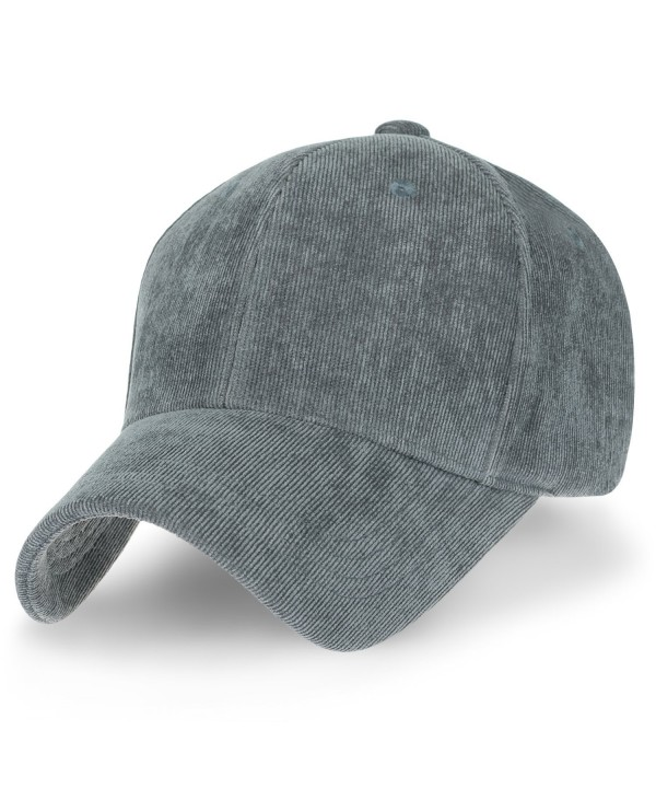 ililily Solid Color Corduroy Baseball Cap Strapback Adjustable Trucker Hat - Silver Grey - CZ187EQ7XN4