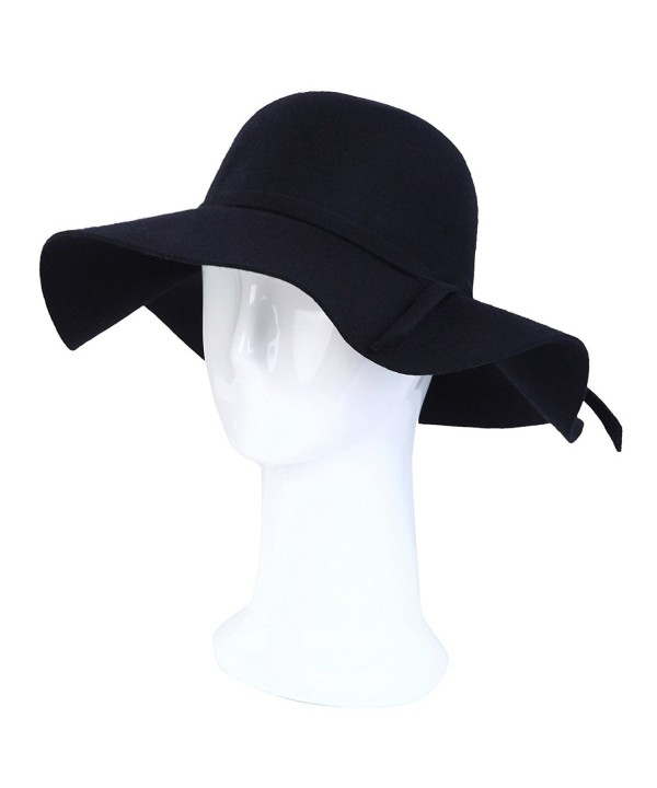 Women's Deluxe 100% Wool Foldable Floppy Hat - Different Colors - Navy - C7125X5003P