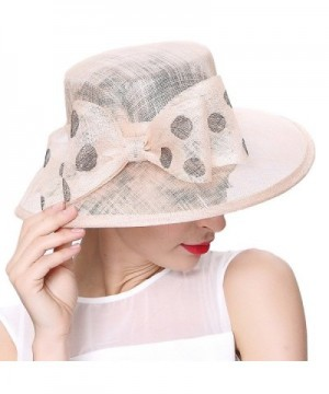 June's Young Women Hats Summer Hat Sinamay Bow Polka Dot - Light Champagne - CM12F6KDYGH
